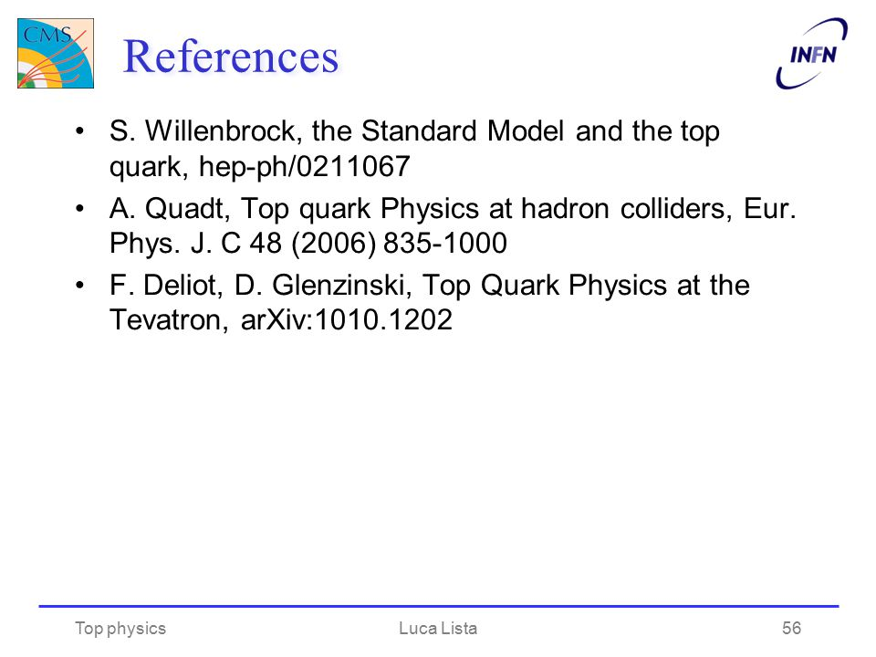 References S. Willenbrock, the Standard Model and the top quark, hep-ph/0211067 A. Quadt, Top quark Physics at hadron colliders, Eur. Phys. J. C 48 (2