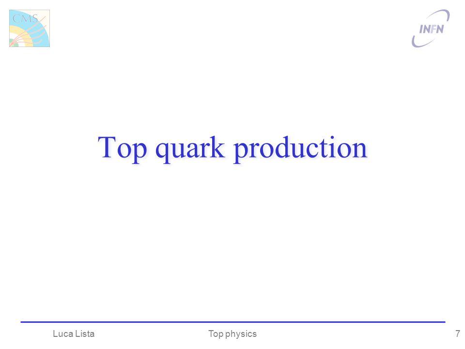 Top quark production Top physicsLuca Lista7