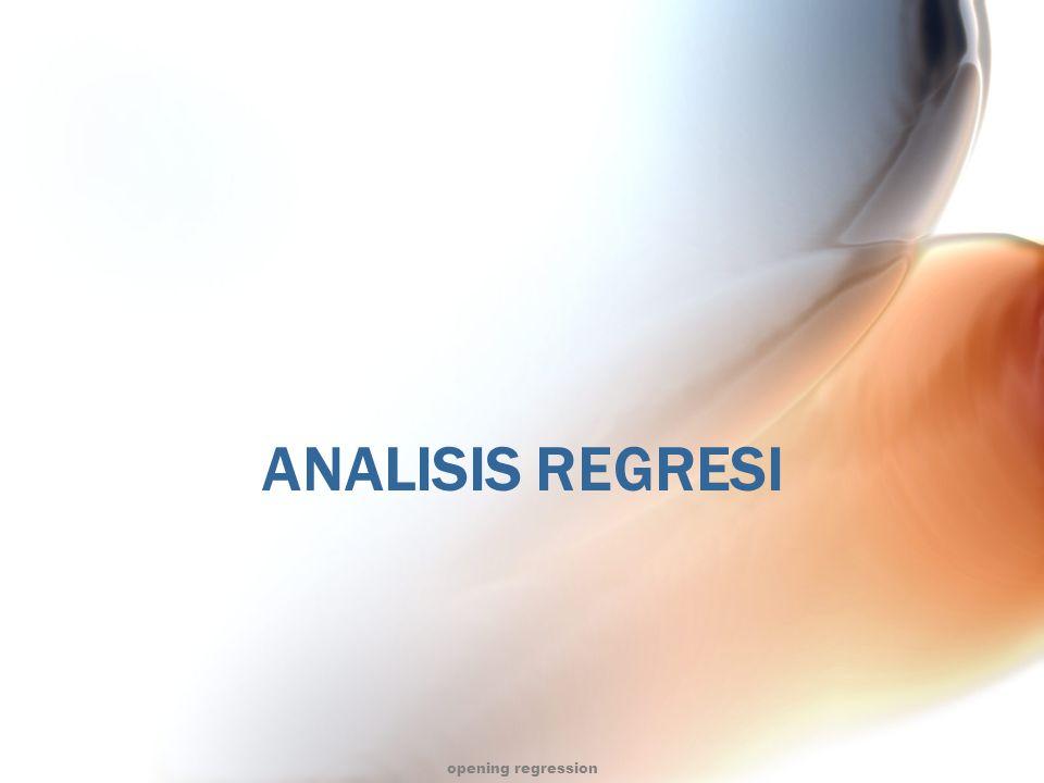 Deskripsi matakuliah Mempelajari :  Analisis regresi linear sederhana  Analisis regresi linear berganda  Asumsi-asumsi dalam regresi  Estimasi koefisien dan persamaan regresi  Inferensi dan interpretasi dalam regresi  Analisis variansi pada regresi  Pendekatan matriks dalam analisis regresi  Jumlah kuadrat ekstra  Analisis korelasi  Regresi lain (regresi polinomial, regresi dummy,regresi logistik, regresi PLS) opening regression