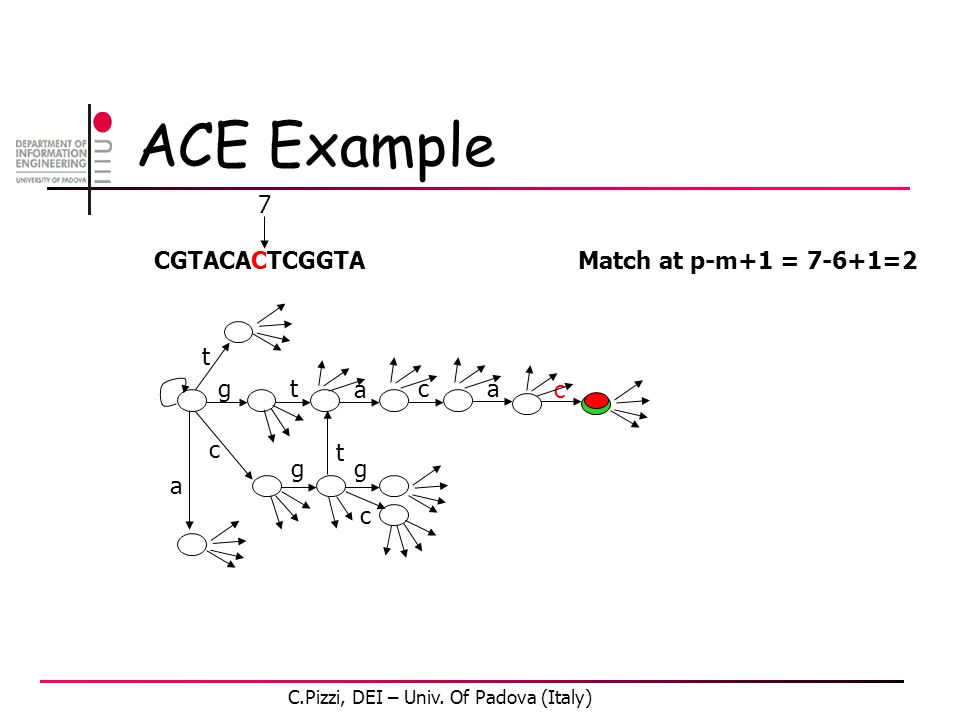 ACE Example CGTACACTCGGTA gt a c c gg t t a c a c 7 Match at p-m+1 = 7-6+1=2 C.Pizzi, DEI – Univ. Of Padova (Italy)