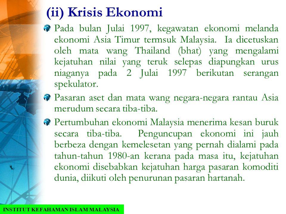 Pada bulan Julai 1997, kegawatan ekonomi melanda ekonomi Asia Timur termsuk Malaysia. Ia dicetuskan oleh mata wang Thailand (bhat) yang mengalami keja