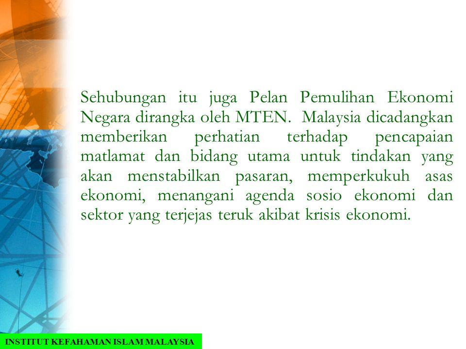 Sehubungan itu juga Pelan Pemulihan Ekonomi Negara dirangka oleh MTEN. Malaysia dicadangkan memberikan perhatian terhadap pencapaian matlamat dan bida