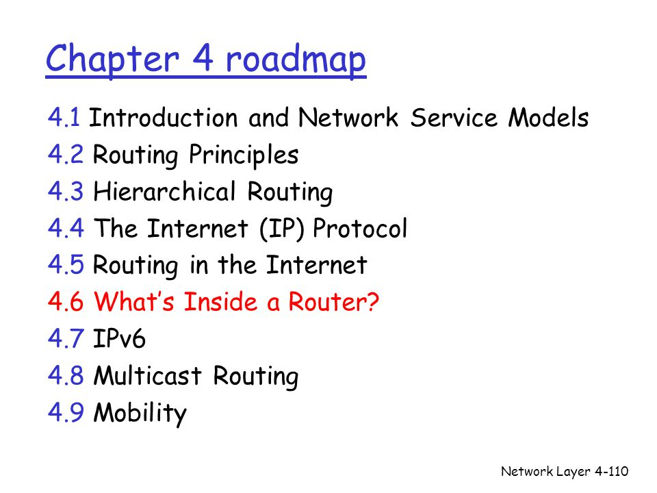 Network Layer4-110 Chapter 4 roadmap 4.1 Introduction and Network Service Models 4.2 Routing Principles 4.3 Hierarchical Routing 4.4 The Internet (IP)
