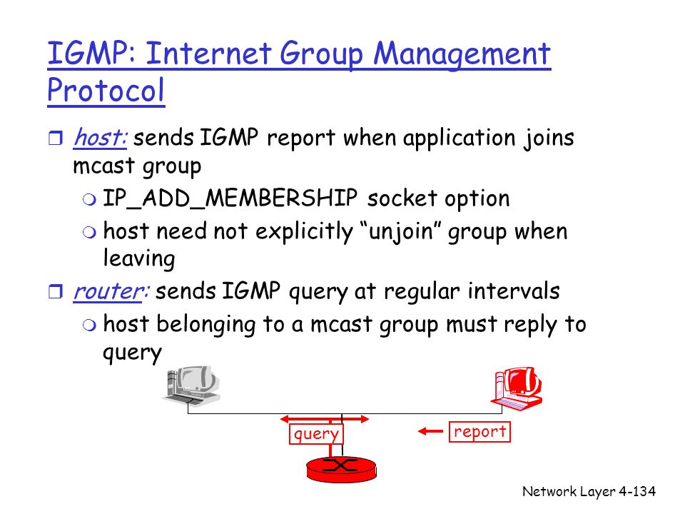 Network Layer4-134 IGMP: Internet Group Management Protocol r host: sends IGMP report when application joins mcast group m IP_ADD_MEMBERSHIP socket op
