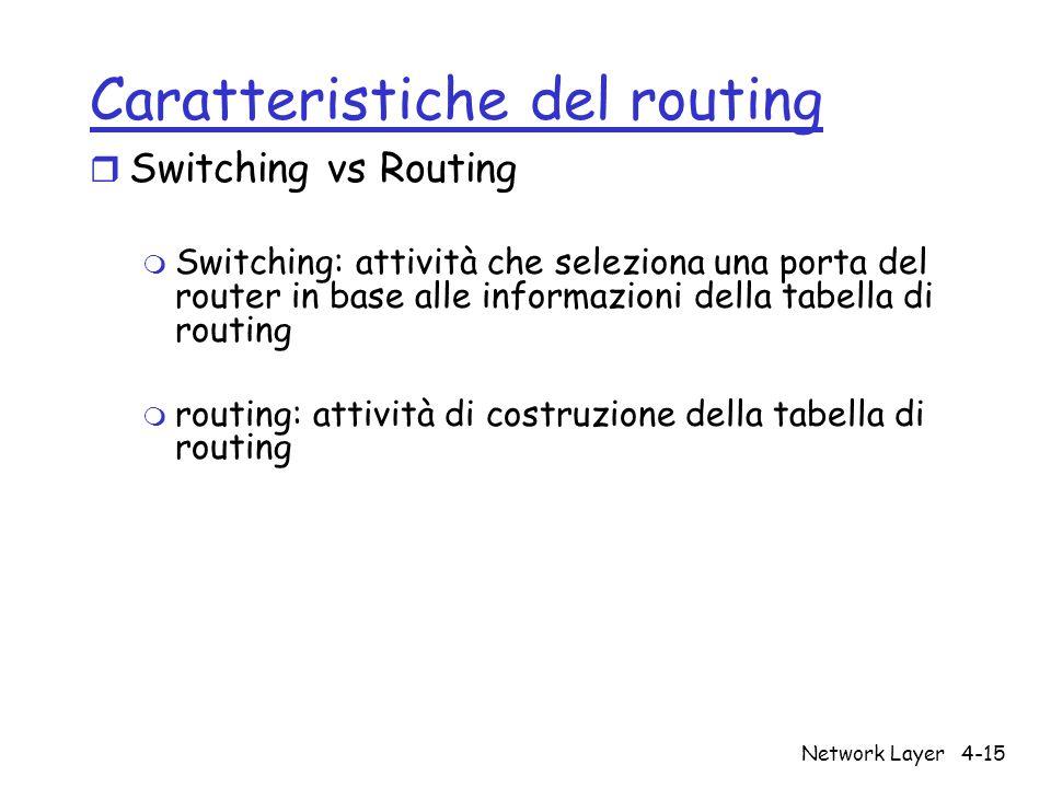 Network Layer4-15 Caratteristiche del routing r Switching vs Routing m Switching: attività che seleziona una porta del router in base alle informazion
