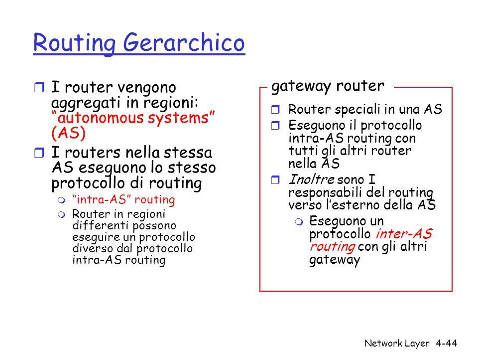 """Network Layer4-44 Routing Gerarchico r I router vengono aggregati in regioni: """"autonomous systems"""" (AS) r I routers nella stessa AS eseguono lo stesso"""