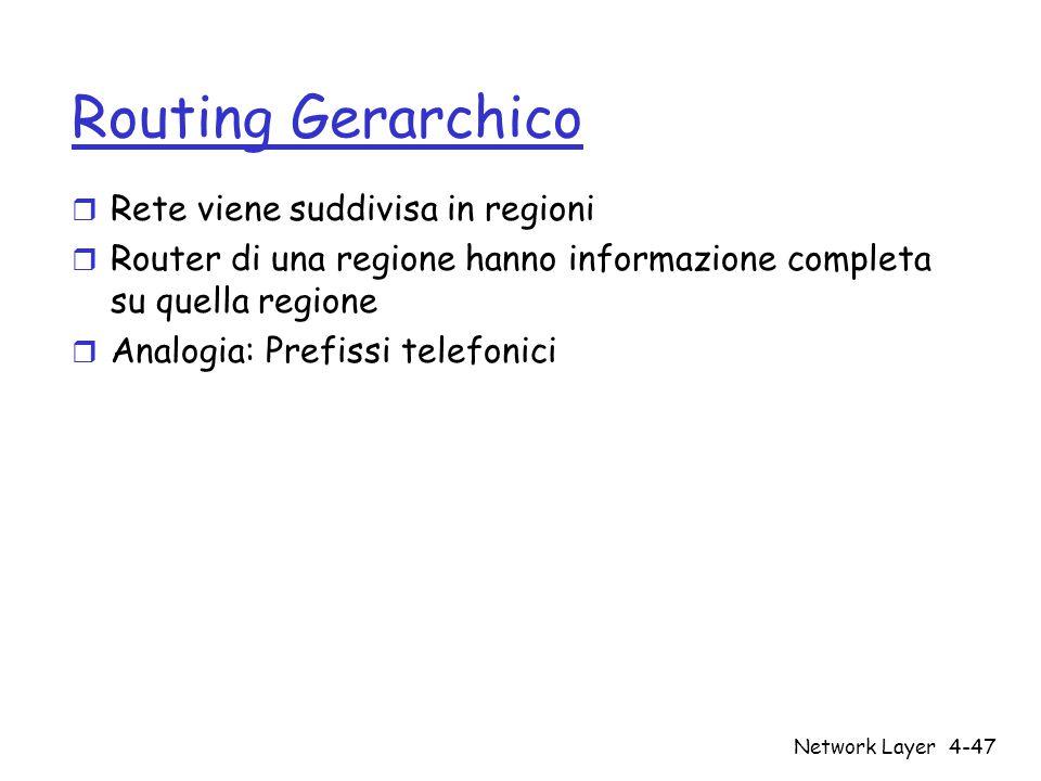 Network Layer4-47 Routing Gerarchico r Rete viene suddivisa in regioni r Router di una regione hanno informazione completa su quella regione r Analogi