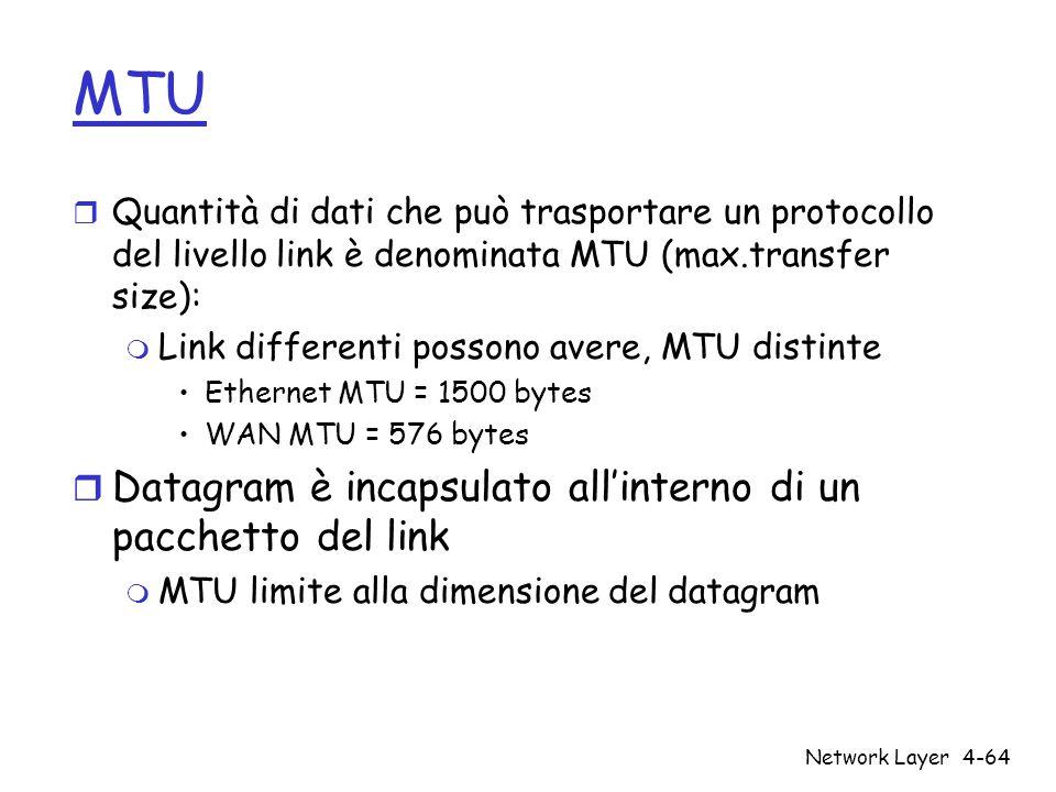 Network Layer4-64 MTU r Quantità di dati che può trasportare un protocollo del livello link è denominata MTU (max.transfer size): m Link differenti po