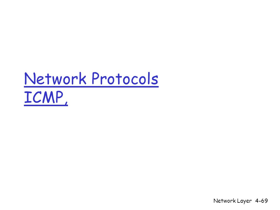 Network Layer4-69 Network Protocols ICMP,