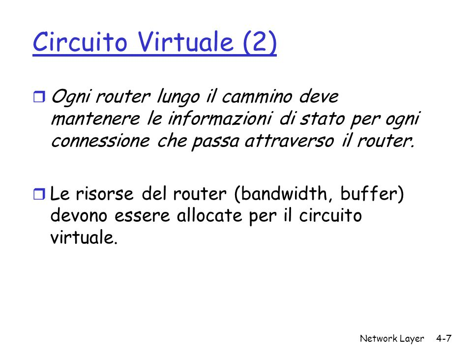 Network Layer4-7 Circuito Virtuale (2) r Ogni router lungo il cammino deve mantenere le informazioni di stato per ogni connessione che passa attravers