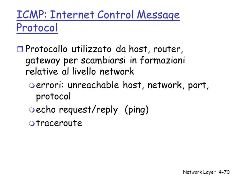 Network Layer4-70 ICMP: Internet Control Message Protocol r Protocollo utilizzato da host, router, gateway per scambiarsi in formazioni relative al li