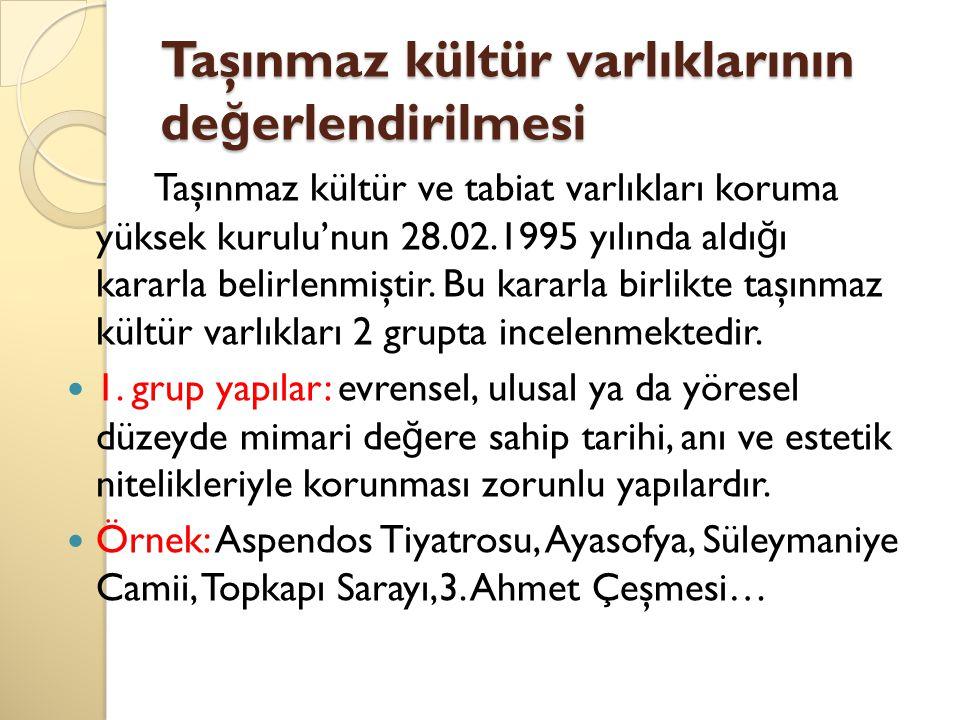 Taşınmaz kültür varlıklarının de ğ erlendirilmesi Taşınmaz kültür ve tabiat varlıkları koruma yüksek kurulu'nun 28.02.1995 yılında aldı ğ ı kararla belirlenmiştir.
