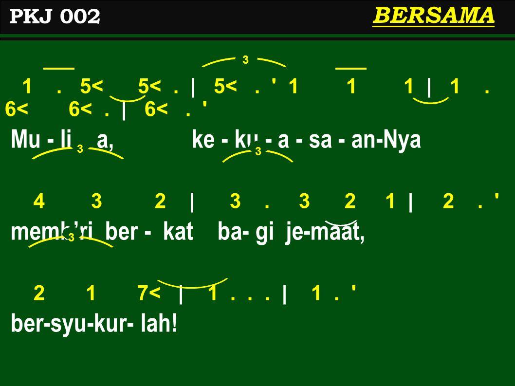 1. 5< 5<. | 5<. 1 1 1 | 1. 6< 6<. | 6<. Mu - li - a, ke - ku - a - sa - an-Nya 4 3 2 | 3.