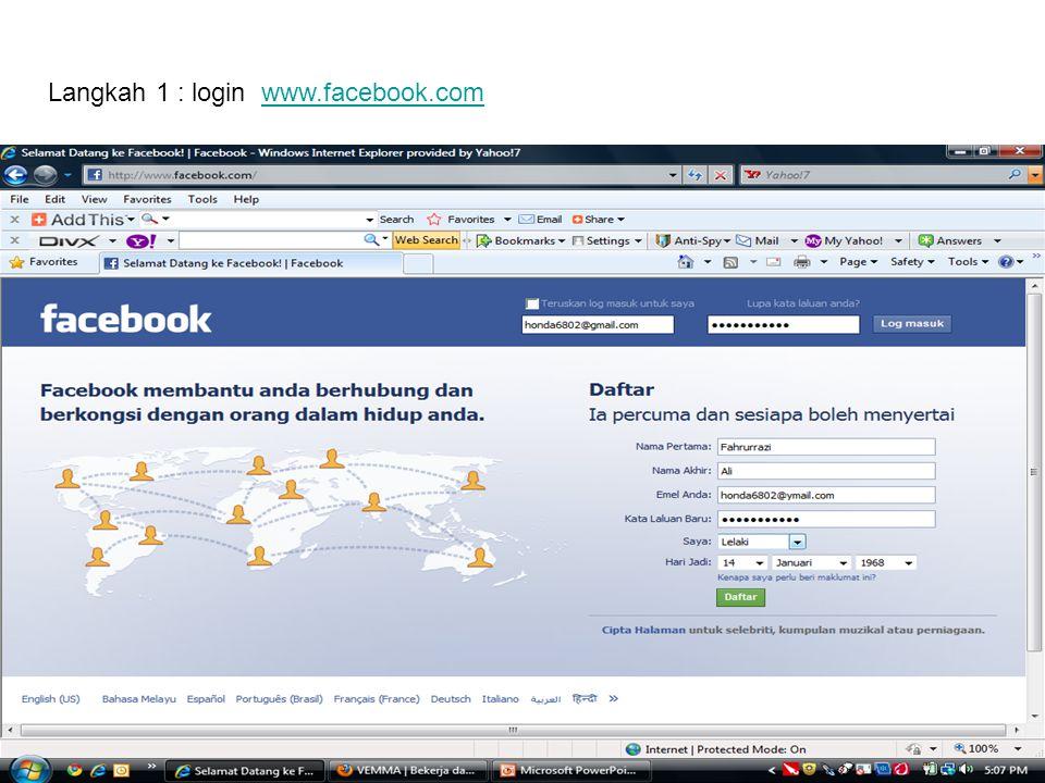 Langkah 1 : login www.facebook.comwww.facebook.com