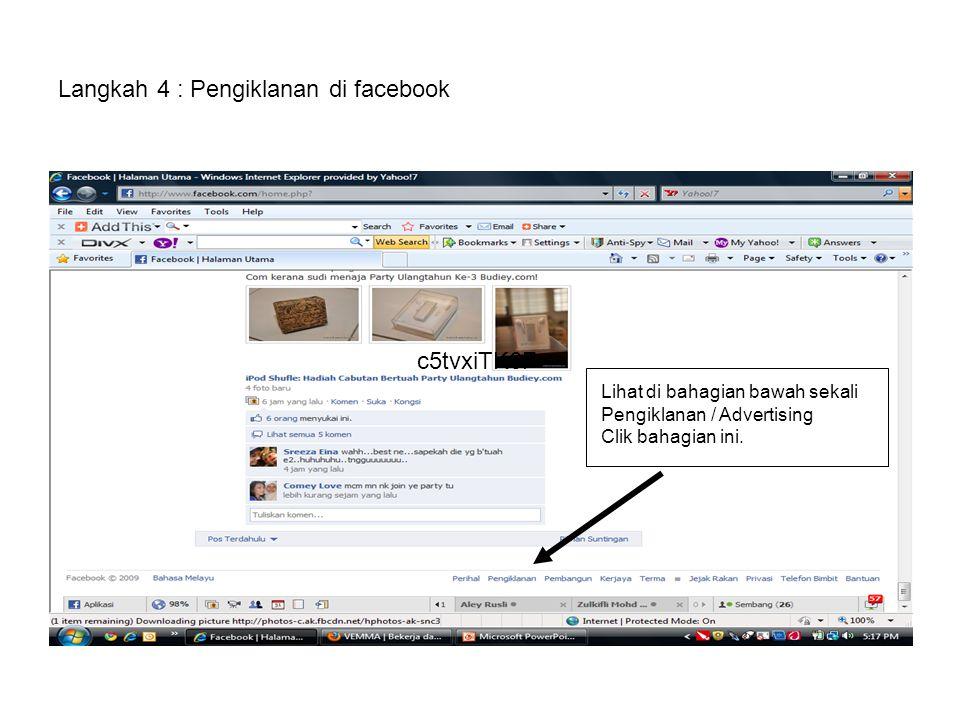 Langkah 4 : Pengiklanan di facebook Lihat di bahagian bawah sekali Pengiklanan / Advertising Clik bahagian ini. c5tvxiTK6F