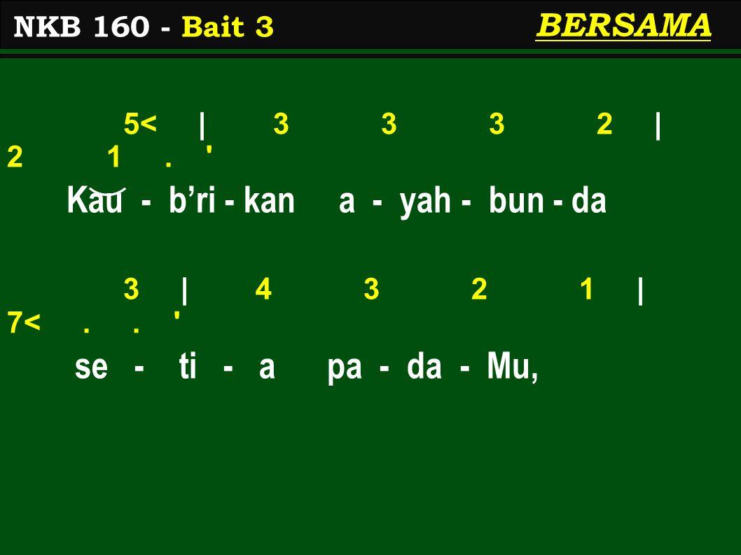 5< | 3 3 3 2 | 2 1. Kau - b'ri - kan a - yah - bun - da 3 | 4 3 2 1 | 7<..