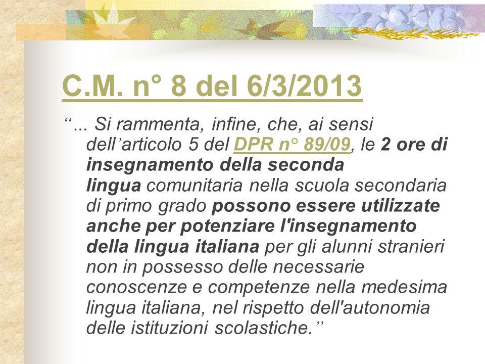 """C.M. n° 8 del 6/3/2013 """"… Si rammenta, infine, che, ai sensi dell ' articolo 5 del DPR n° 89/09, le 2 ore di insegnamento della seconda lingua comunit"""