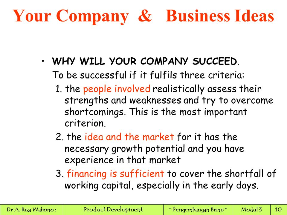 WHY WILL YOUR COMPANY SUCCEED. To be successful if it fulfils three criteria: 1. the people involved realistically assess their strengths and weakness
