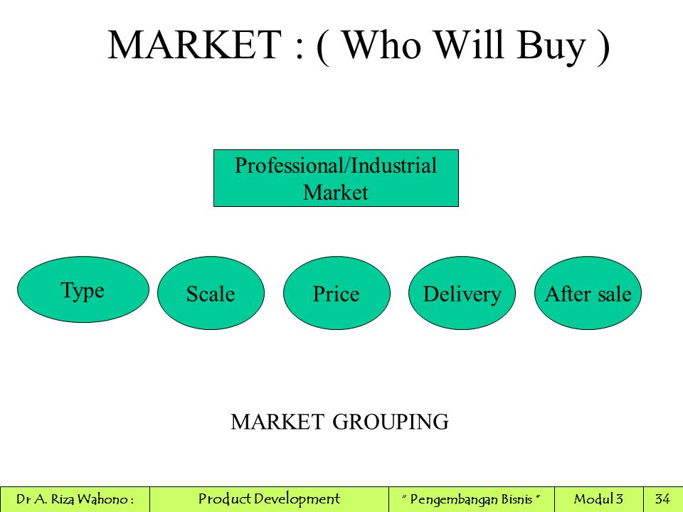 """MARKET : ( Who Will Buy ) Professional/Industrial Market Type ScaleDeliveryPriceAfter sale MARKET GROUPING Product Development Dr A. Riza Wahono :"""" Pe"""