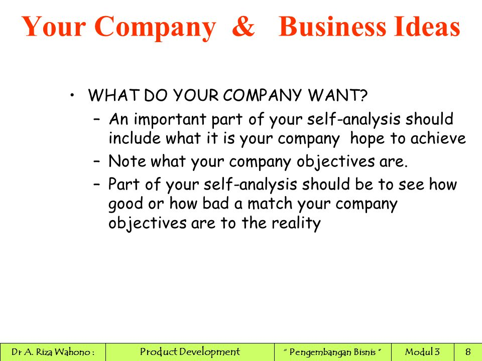 WHAT DO YOUR COMPANY WANT? –An important part of your self-analysis should include what it is your company hope to achieve –Note what your company obj