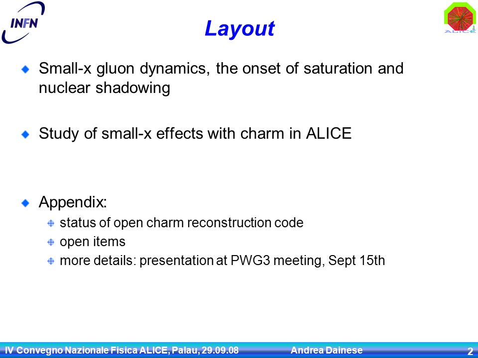 IV Convegno Nazionale Fisica ALICE, Palau, 29.09.08 Andrea Dainese 23 Charm at  s = 14 TeV: x,Q 2 range (1) Simple estimate: c c