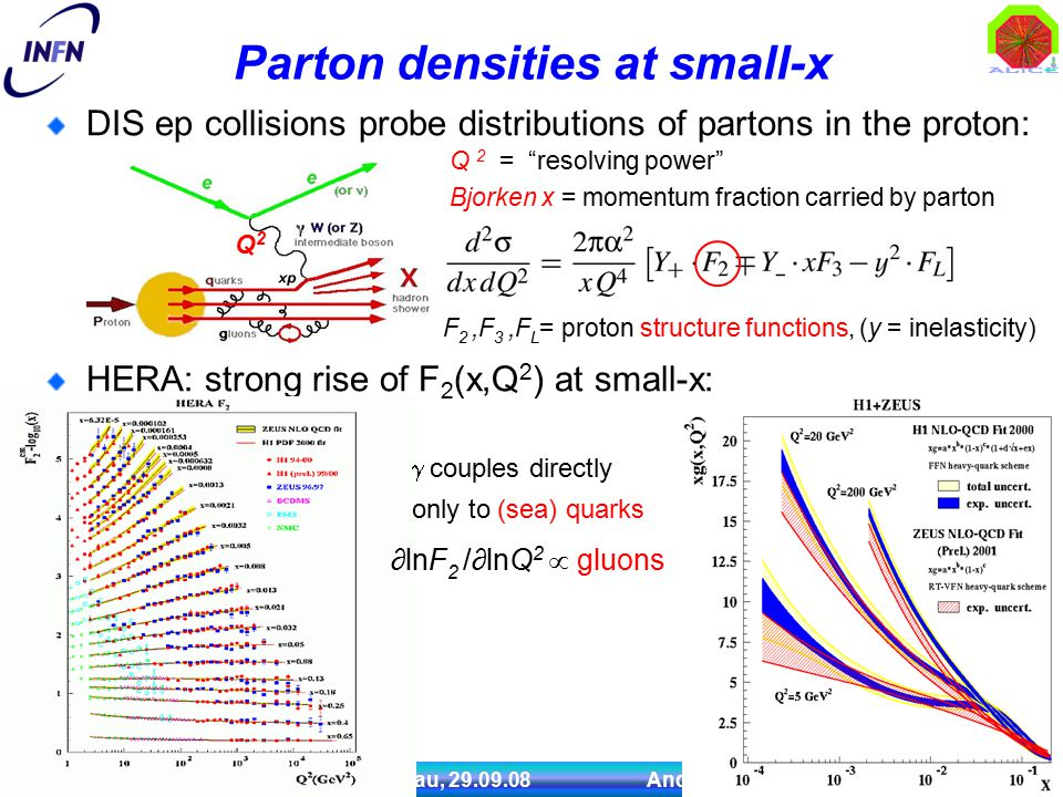 IV Convegno Nazionale Fisica ALICE, Palau, 29.09.08 Andrea Dainese 3 Parton densities at small-x DIS ep collisions probe distributions of partons in the proton: HERA: strong rise of F 2 (x,Q 2 ) at small-x: Q2Q2 Q 2 = resolving power F 2,F 3,F L = proton structure functions, (y = inelasticity) Bjorken x = momentum fraction carried by parton ∂lnF 2 /∂lnQ 2  gluons  couples directly only to (sea) quarks