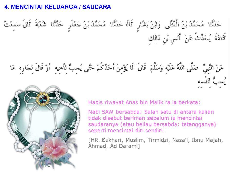 Hadis riwayat Abdullah bin Mas'ud ra ia berkata: Aku pernah bertanya kepada Rasulullah SAW: Pekerjaan manakah yang paling utama.