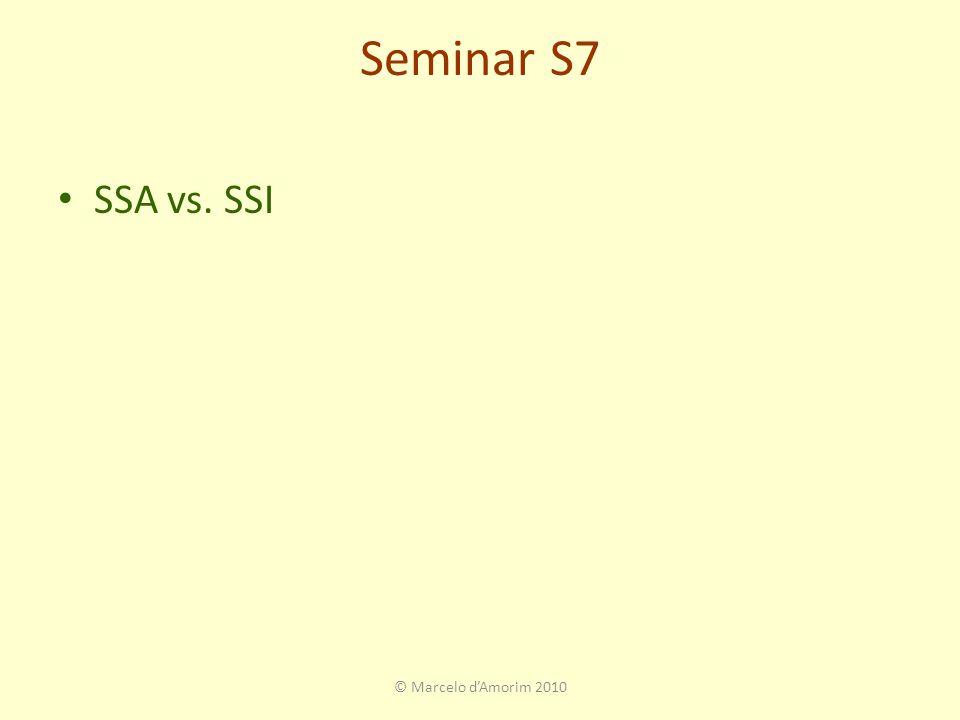 Seminar S7 SSA vs. SSI © Marcelo d'Amorim 2010