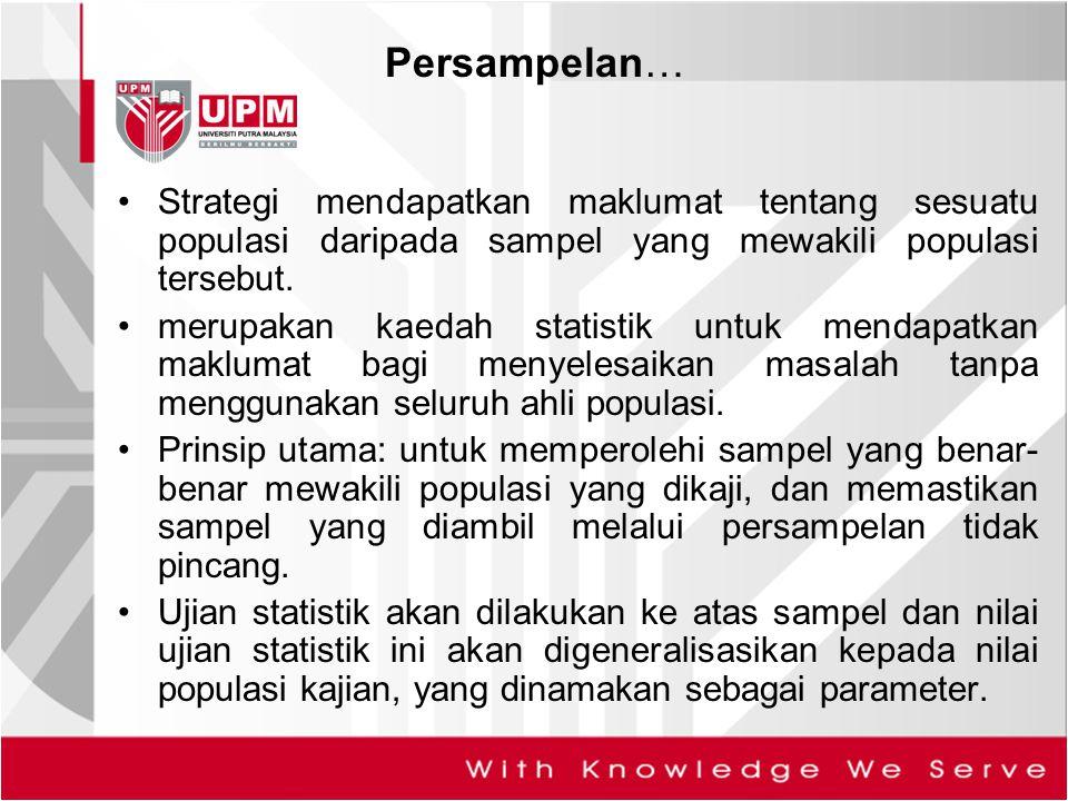Strategi mendapatkan maklumat tentang sesuatu populasi daripada sampel yang mewakili populasi tersebut. merupakan kaedah statistik untuk mendapatkan m