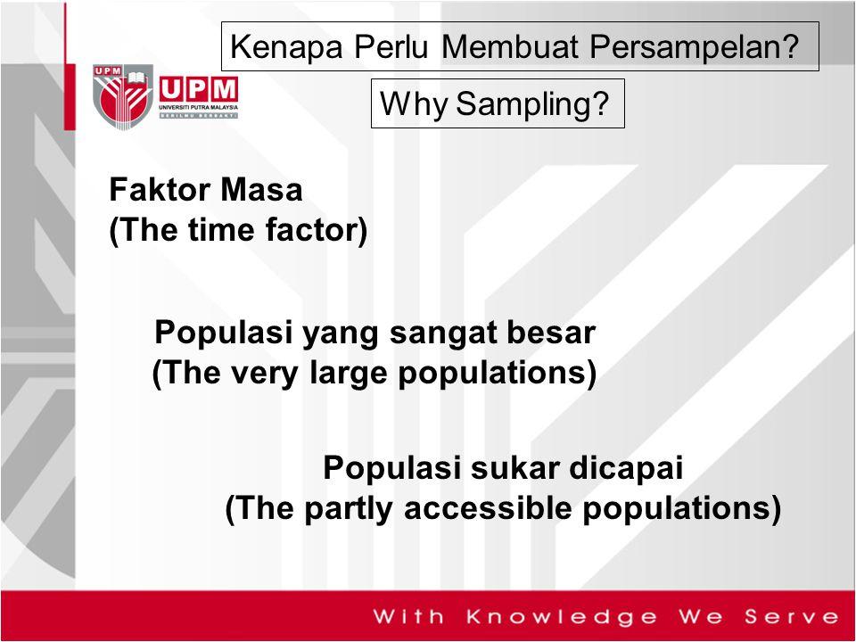 Kenapa Perlu Membuat Persampelan? Faktor Masa (The time factor) Why Sampling? Populasi yang sangat besar (The very large populations) Populasi sukar d