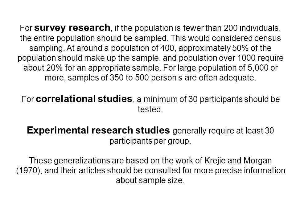 For survey research, if the population is fewer than 200 individuals, the entire population should be sampled. This would considered census sampling.