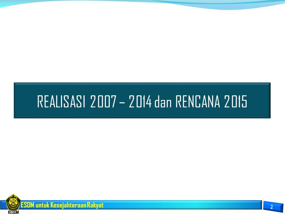 ESDM untuk Kesejahteraan Rakyat REALISASI 2007 – 2014 dan RENCANA 2015