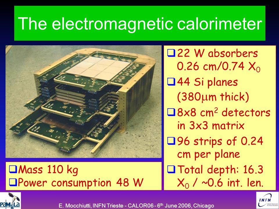 E. Mocchiutti, INFN Trieste - CALOR06 - 6 th June 2006, Chicago The PAMELA calorimeterThe electromagnetic calorimeter  22 W absorbers 0.26 cm/0.74 X