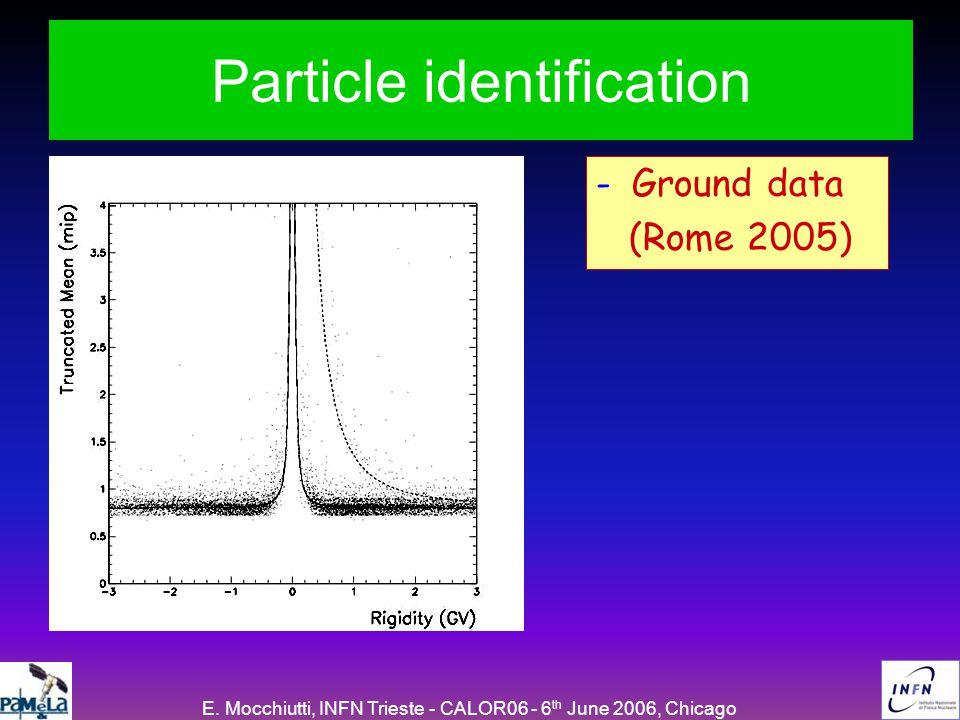 E. Mocchiutti, INFN Trieste - CALOR06 - 6 th June 2006, Chicago Particle identification -Ground data (Rome 2005)