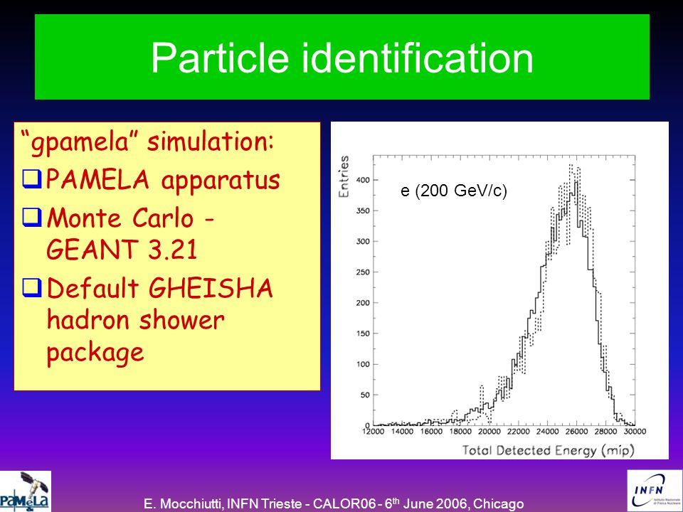 "E. Mocchiutti, INFN Trieste - CALOR06 - 6 th June 2006, Chicago Particle identification ""gpamela"" simulation:  PAMELA apparatus  Monte Carlo - GEANT"