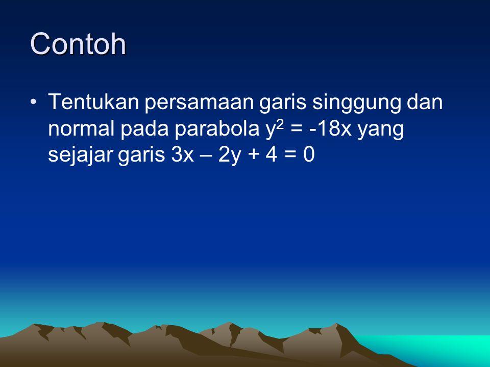 Contoh Tentukan persamaan garis singgung dan normal pada parabola y 2 = -18x yang sejajar garis 3x – 2y + 4 = 0