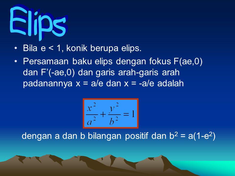Bila e < 1, konik berupa elips. Persamaan baku elips dengan fokus F(ae,0) dan F'(-ae,0) dan garis arah-garis arah padanannya x = a/e dan x = -a/e adal