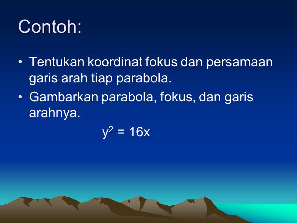 Contoh: Tentukan koordinat fokus dan persamaan garis arah tiap parabola. Gambarkan parabola, fokus, dan garis arahnya. y 2 = 16x