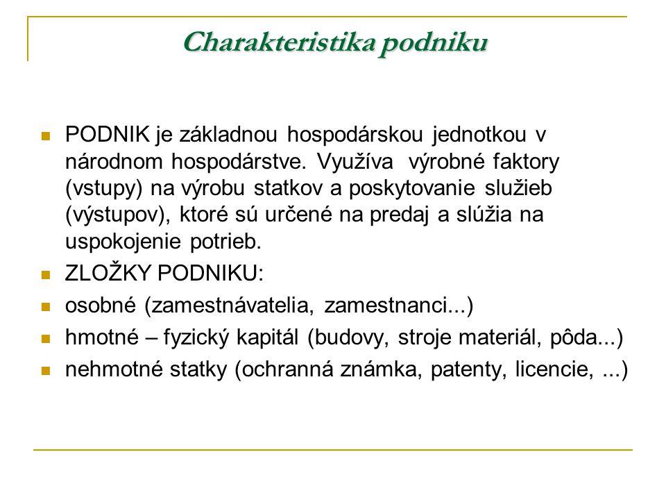 Charakteristika podniku PODNIK je základnou hospodárskou jednotkou v národnom hospodárstve.
