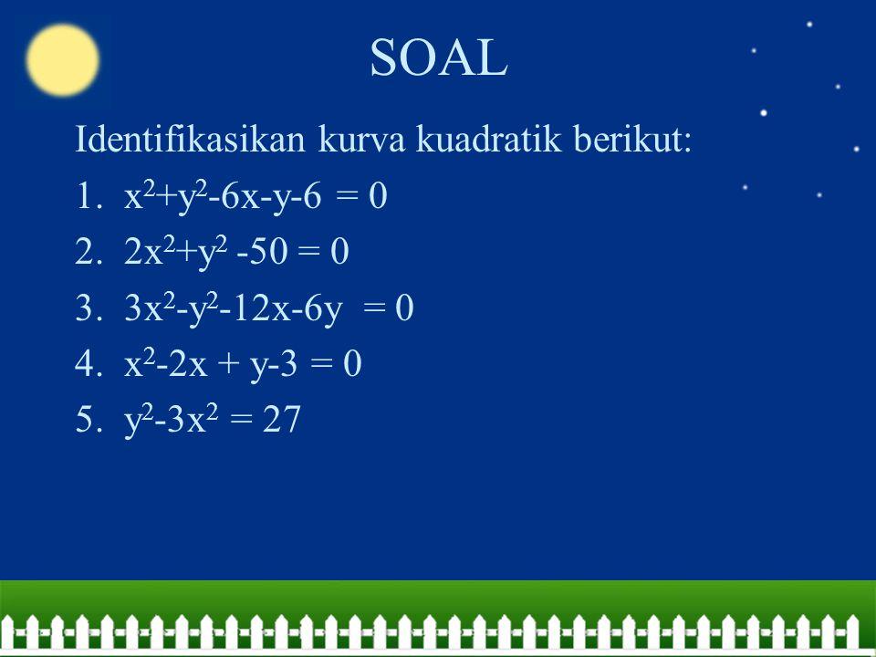 SOAL Identifikasikan kurva kuadratik berikut: 1.x 2 +y 2 -6x-y-6 = 0 2.2x 2 +y 2 -50 = 0 3.3x 2 -y 2 -12x-6y = 0 4.x 2 -2x + y-3 = 0 5.y 2 -3x 2 = 27