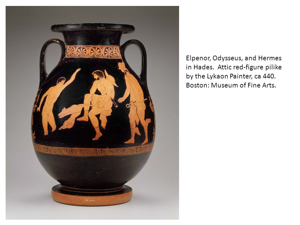 Elpenor, Odysseus, and Hermes in Hades.Attic red-figure pilike by the Lykaon Painter, ca 440.