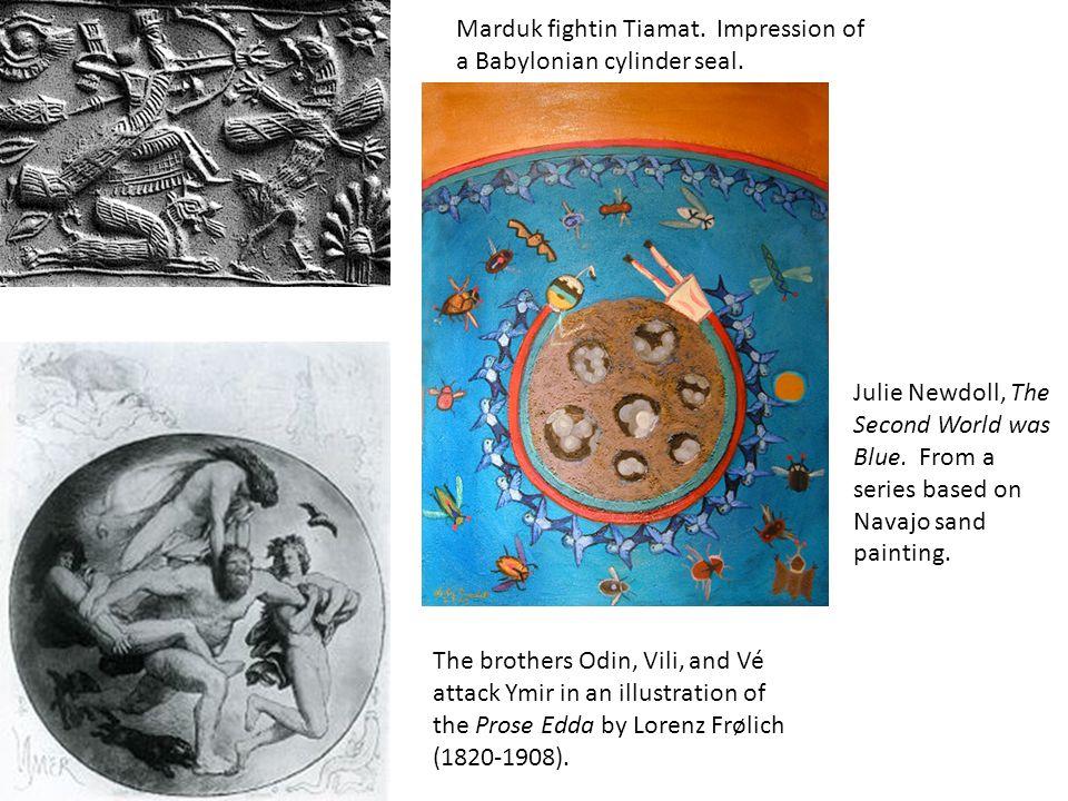 Marduk fightin Tiamat.Impression of a Babylonian cylinder seal.
