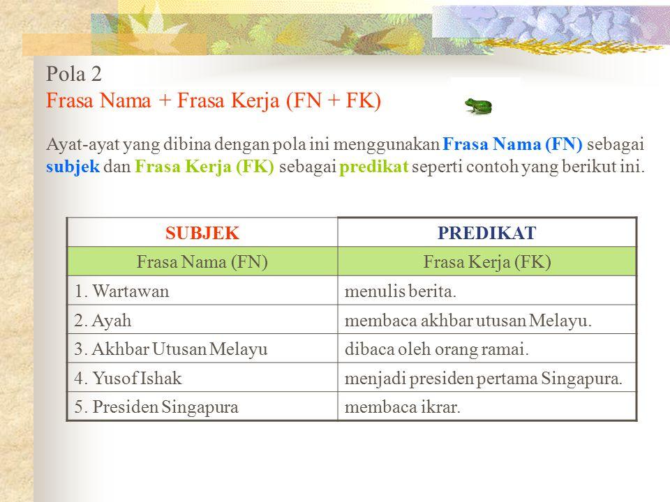 Pola 2 Frasa Nama + Frasa Kerja (FN + FK) Ayat-ayat yang dibina dengan pola ini menggunakan Frasa Nama (FN) sebagai subjek dan Frasa Kerja (FK) sebaga