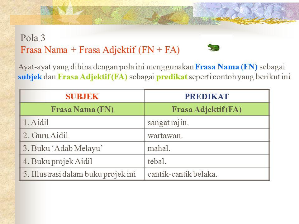 Pola 3 Frasa Nama + Frasa Adjektif (FN + FA) Ayat-ayat yang dibina dengan pola ini menggunakan Frasa Nama (FN) sebagai subjek dan Frasa Adjektif (FA)