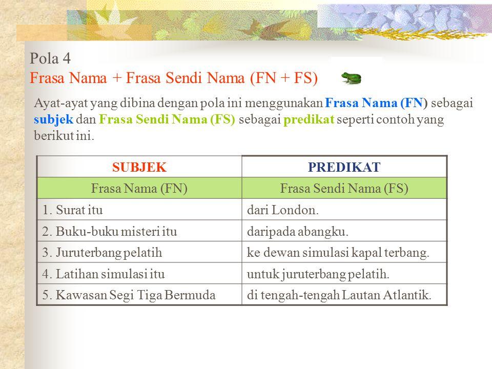 Pola 4 Frasa Nama + Frasa Sendi Nama (FN + FS) Ayat-ayat yang dibina dengan pola ini menggunakan Frasa Nama (FN) sebagai subjek dan Frasa Sendi Nama (