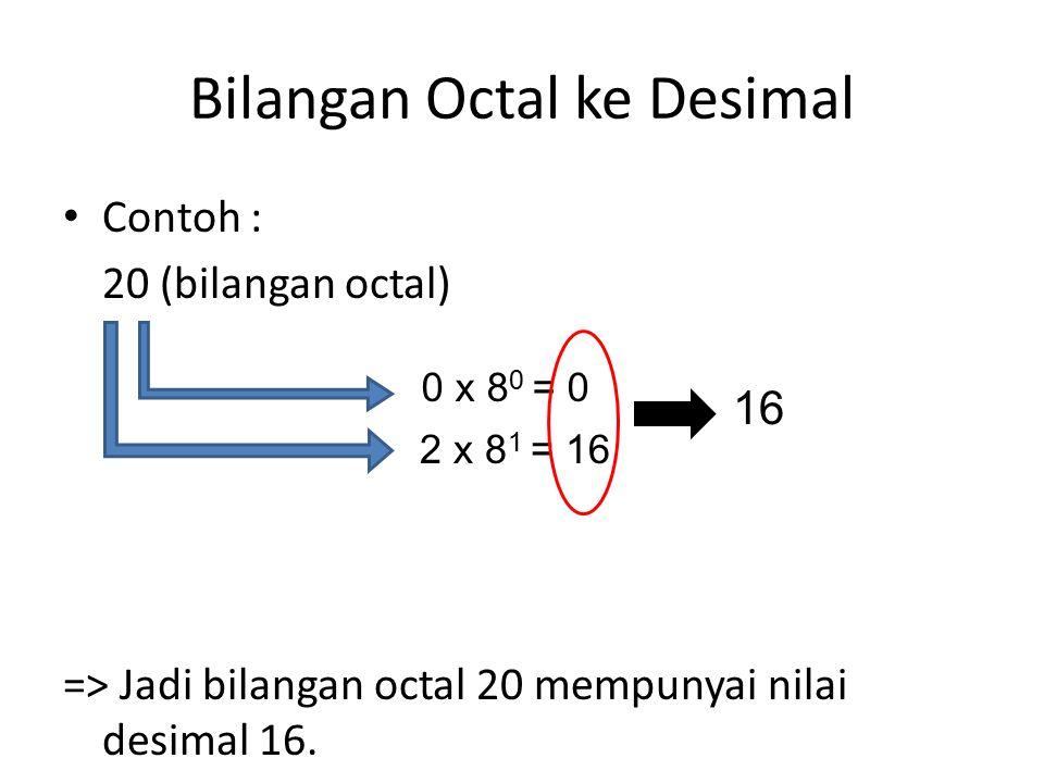 Bilangan Octal ke Desimal Contoh : 20 (bilangan octal) => Jadi bilangan octal 20 mempunyai nilai desimal 16.