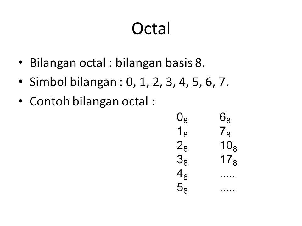 Octal Bilangan octal : bilangan basis 8. Simbol bilangan : 0, 1, 2, 3, 4, 5, 6, 7.