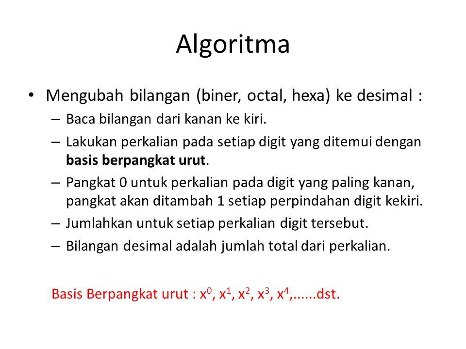 Algoritma Mengubah bilangan (biner, octal, hexa) ke desimal : – Baca bilangan dari kanan ke kiri.