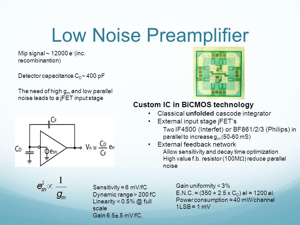 Low Noise Preamplifier Mip signal ~ 12000 e - (inc.