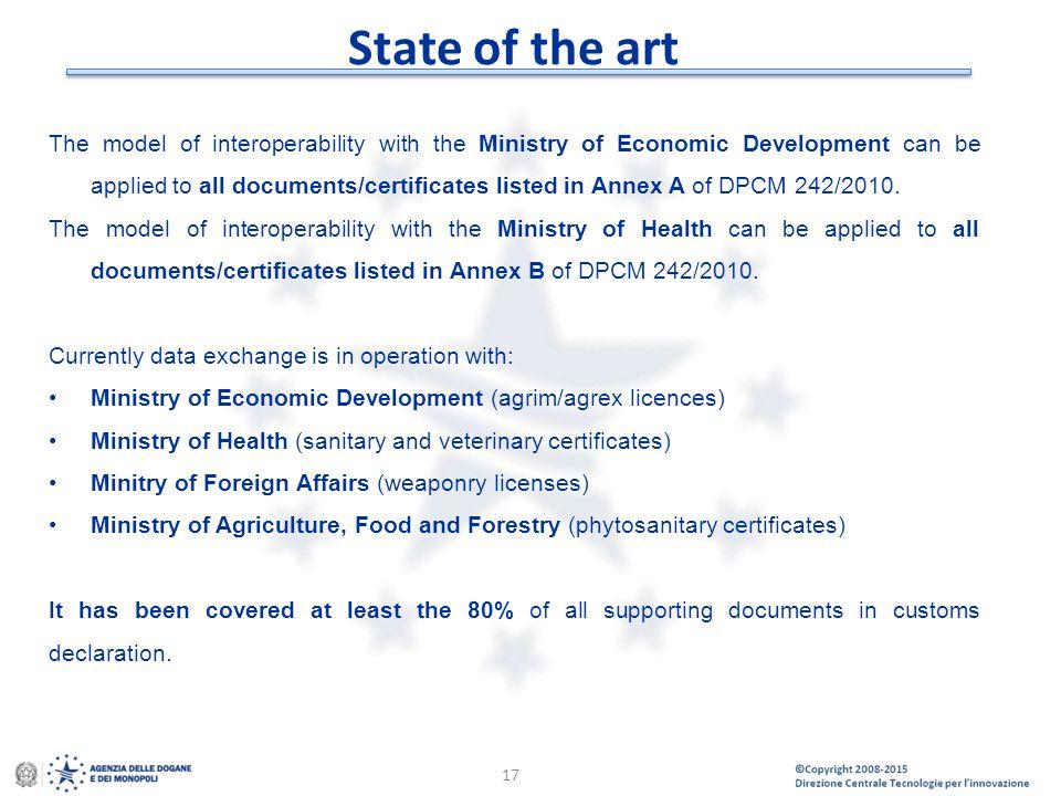© Copyright 2008-2014 Direzione Centrale Tecnologie per l'Innovazione State of the art 17 The model of interoperability with the Ministry of Economic